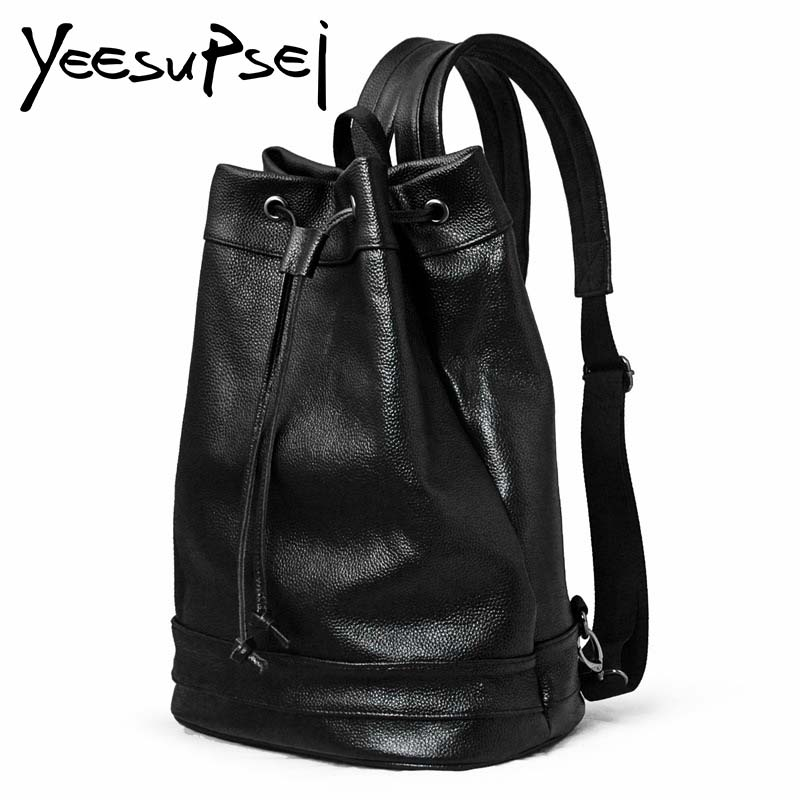 Фотография YeeSupSei Fashion Men Genuine Leather Backpack Travelling Schoolbag Sac a dos Knot Lock School Bag For Young Male Black Backpack
