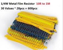 Juego de resistencias rellenables de Metal, 30 valores * 20 piezas = 600 Uds., 10 Ohmios-1m ohmios, 1/4W, 1% unidades, surtido, 100R, 470R, 510R, 670R, 1k, 10k, 4,7 k, 100k