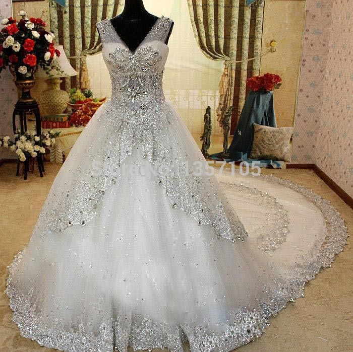 2017 quality luxurious crystal sparkling diamond bling for Bling wedding dresses 2017