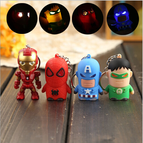 The Avengers <font><b>Light</b></font> Up <font><b>Figure</b></font> Toy Iron Man LED Keychain with <font><b>Light</b></font> <font><b>Sound</b></font> Spiderman <font><b>Batman</b></font> Captain America Model Keyring