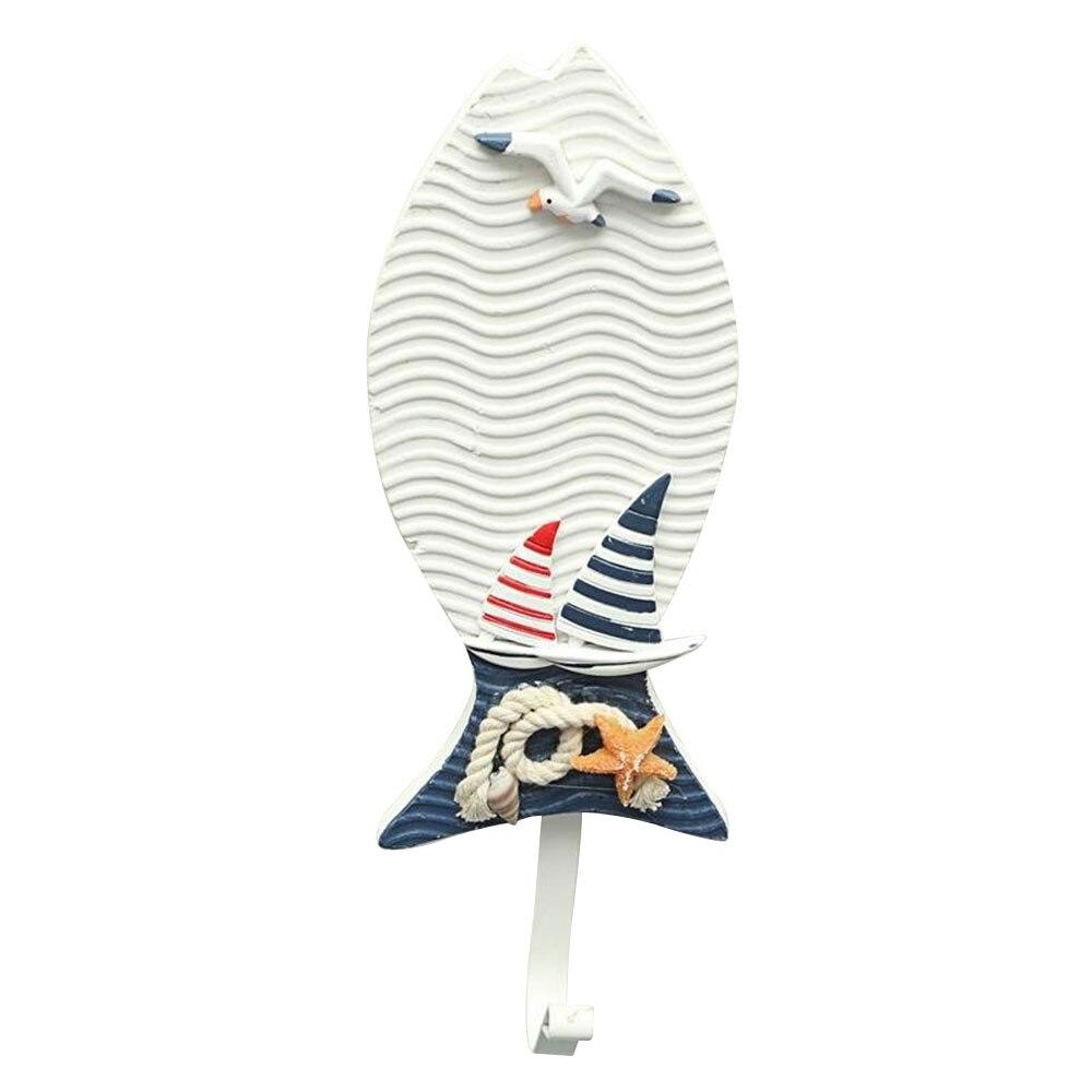 Вешалка для тапочек в форме лодки, украшение в виде рыбы, одежда для ванной, подвесное украшение для окна, гостиной, настенный крючок, средиземноморский - Цвет: fish hook