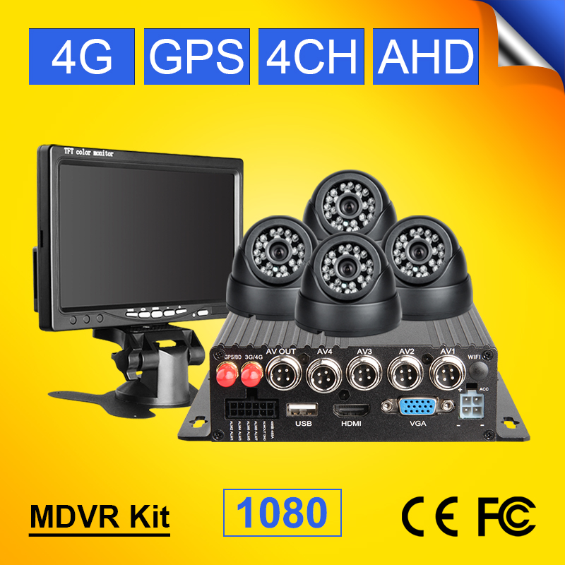 Vehicle Mobile Dvr Linux-System Remote-Monitoring H.264 4CH With 4G Network GPS CCTV