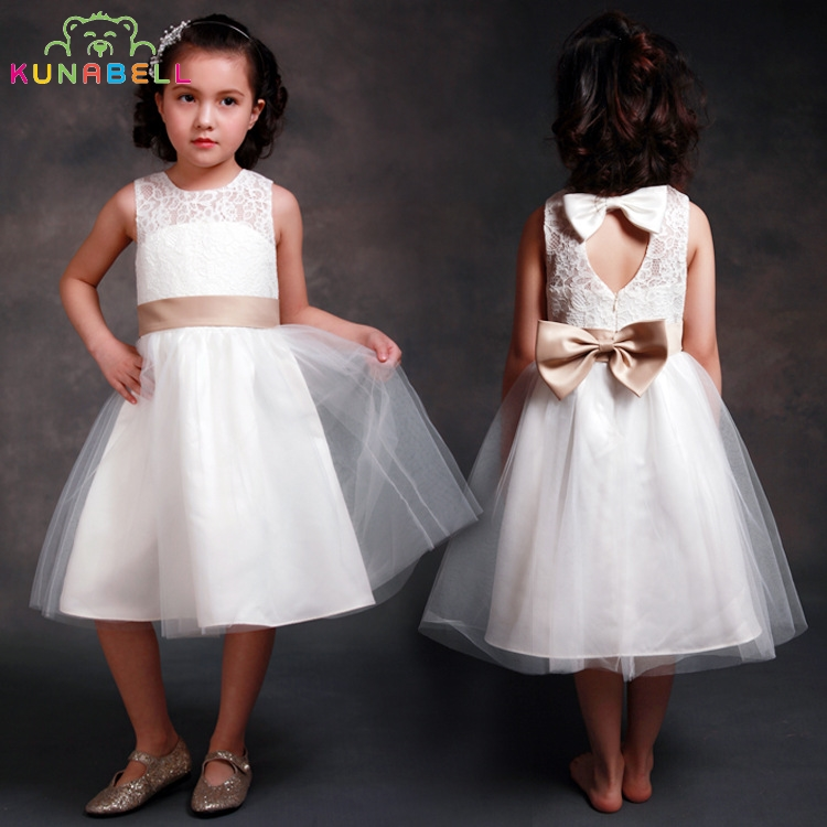 Baby Girl Formal Dress Brand Gown Birthday Wedding Party Princess Dresses Kids White Tutu Mesh Costume Children Clothes D1
