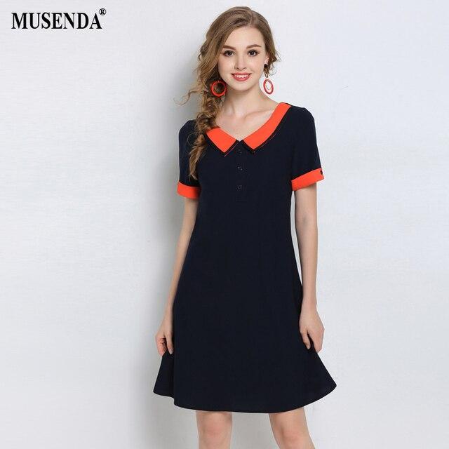 MUSENDA Plus Size Women Blue Peter Pan Collar Midi Dress 2018 Summer  Sundress Ladies Sweet Brief e718cb9b2881
