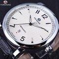 Exibição do Calendário Forsining Homens de Negócios Clássico Design Simples Branco Dial Masculino Relógios De Pulso Dos Homens Relógio Automático Top Marca de Luxo