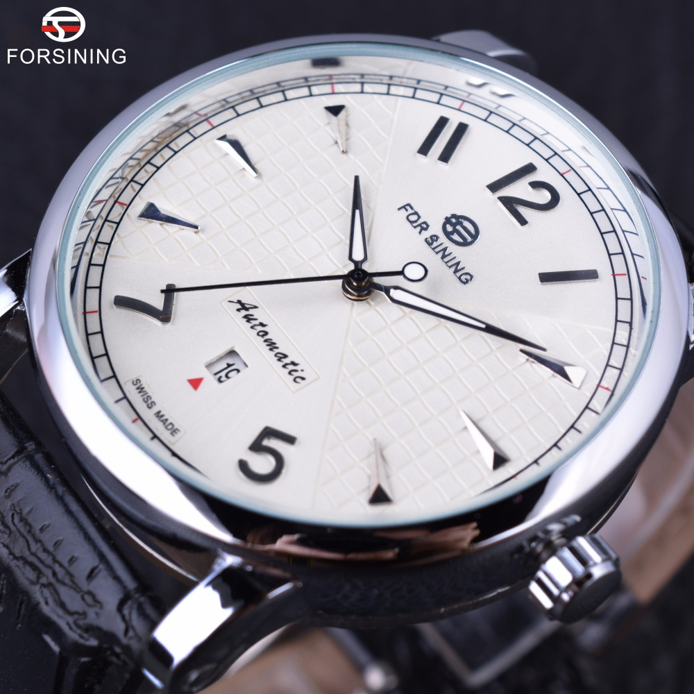 Forsining Men Business Classic Simple Design Calendar Display White Dial Male Wrist Watches Men Automatic Watch Top Brand Luxury fashion fngeen brand simple gridding texture dial automatic mechanical men business wrist watch calender display clock 6608g