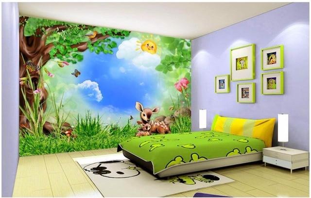 Benutzerdefinierten Wandbild Foto D Raum Tapete Wald Baum Cartoon Tier Kinderzimmer Malerei D Wandbilder Wallpaper Fur