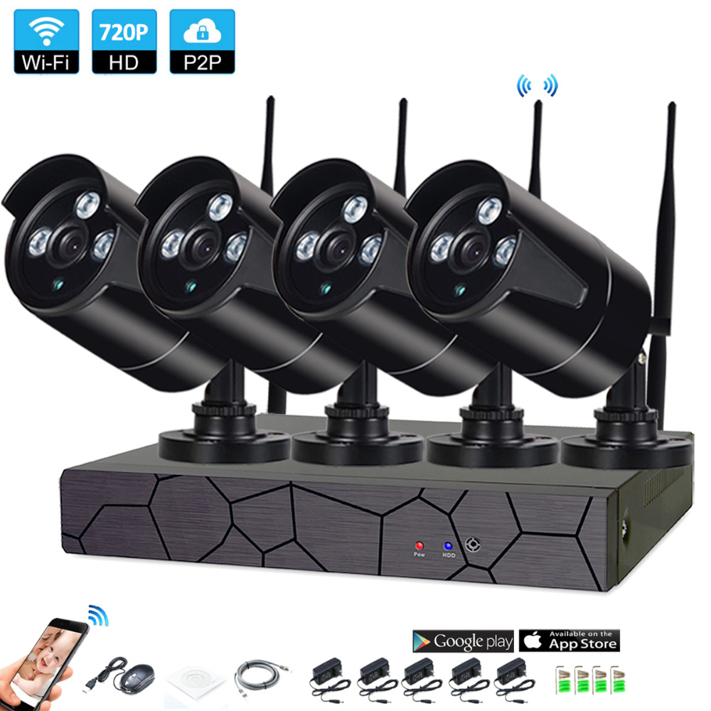 4CH 1080P HD Wireless NVR Kit P2P 720P Indoor Outdoor IR Night Vision Security 1.0MP IP Camera WIFI CCTV System 4ch 1080p hd wireless nvr camera system p2p 720p 1mp indoor outdoor ir night vision ip camera wifi cctv camera security system