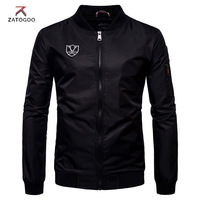 ZATOGOO Mens Casual Bomber Jackets Embroidery Logo Plus Size 5XL Spring Autumn Sportswear Male Solid Jacket