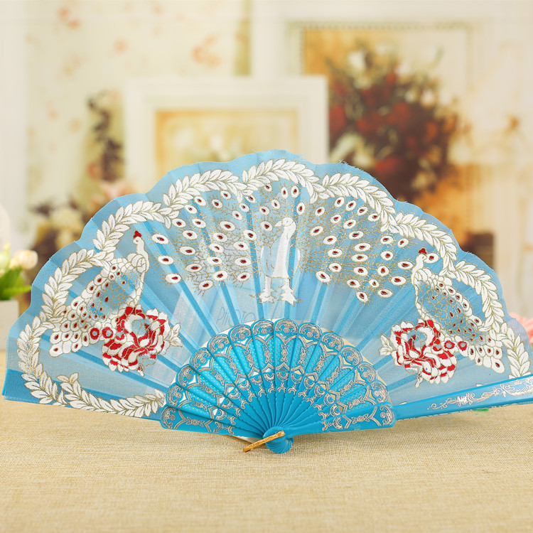 Peacock bronzing Ladies Fans Lace Chinese Folding Dance Fan Decoration Personalized Hand Fan Wedding 10pcs lot