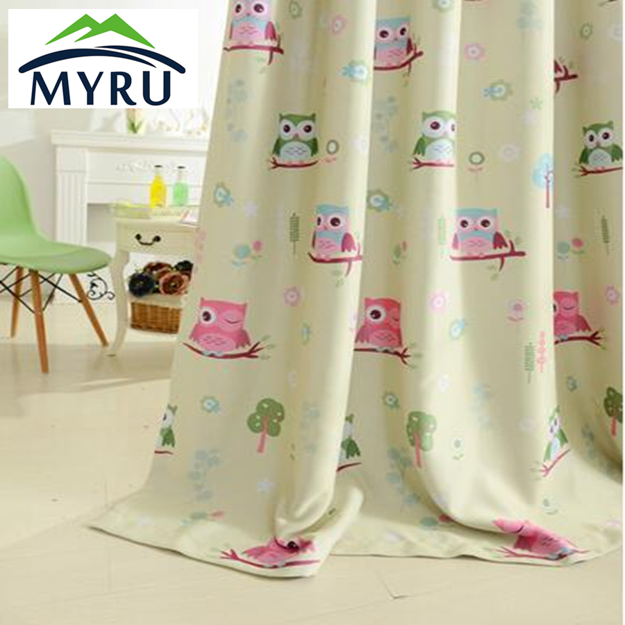 2017 cartoon owl shade blinds finished window blackout for Blackout curtains for kids rooms