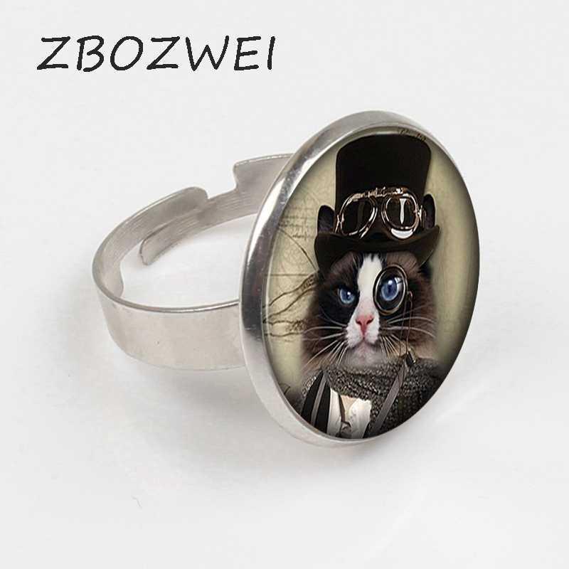 ZBOZWEI 2018 Alice Wonderland Cheshire kedi küçük yavru Steampunk yüzük el yapımı kadınlar takı erkekler Unisex elbise aksesuarları hediye