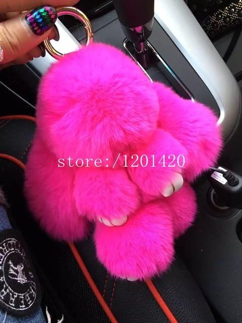 Ярко розовый милый кролик брелок меха кролика брелок банни меха cham сумка ошибка кукла автомобиль брелки рюкзак шкентель сумки