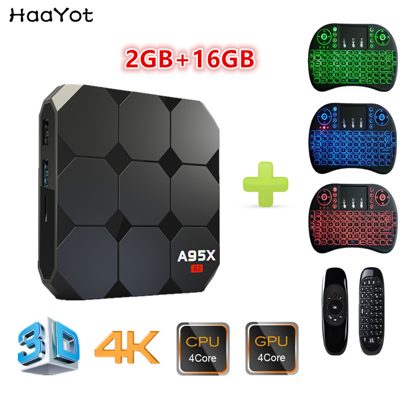 HAAYOT A95X R2 Amlogic S905W Android 7 1 TV Box Quad Core 64Bit HD 2GB 16GB