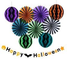 Sunbeauty 10pcs Halloween Party Decoration (Paper fan,Honeycomb ball Decor,Halloween Banner) Favors Supplier