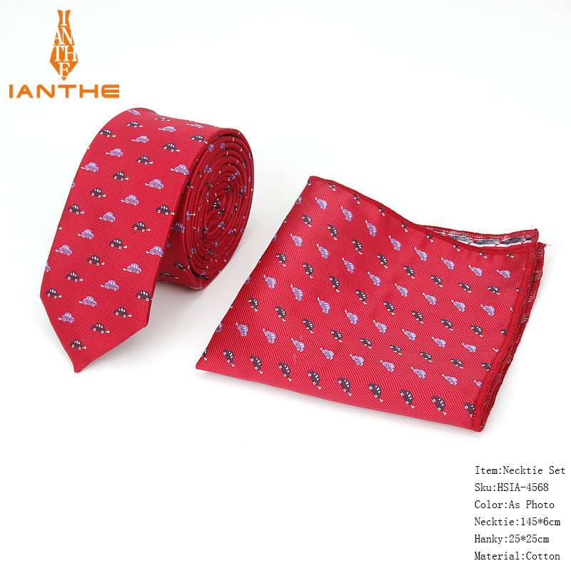 Brand New Men's Cute Animal Polyester Jacquard Narrow Neck Tie Pocket Square Sets Men Fashion Wedding Slim Necktie Hankies Sets