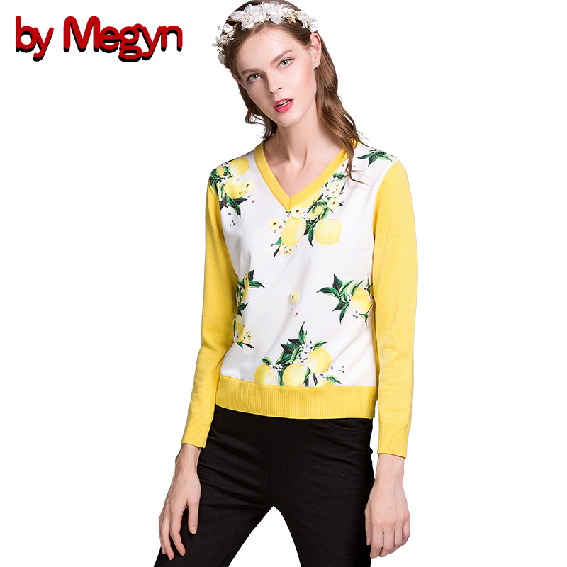 2019 Autumn Winter Women Fashion Loose pullover female long sleeve jumper Fruit Print Wool women knitted