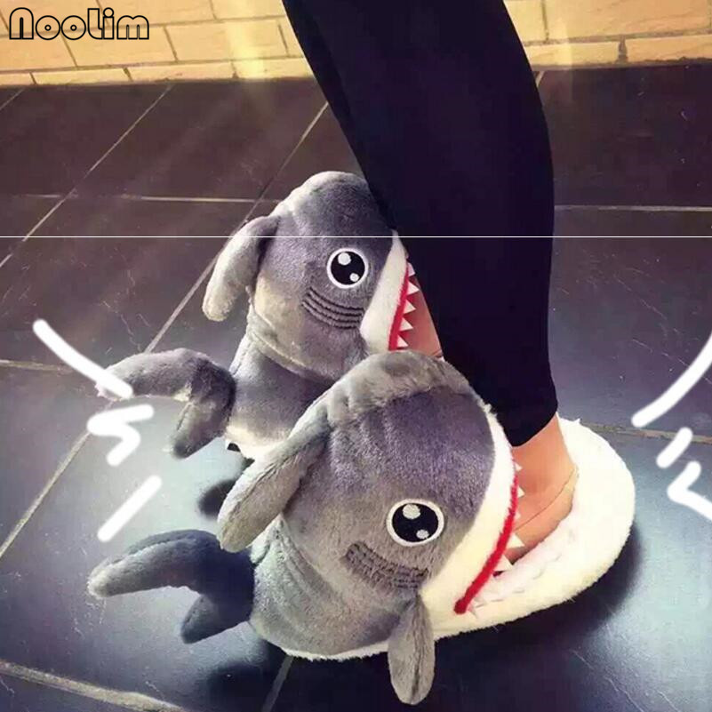 Funny Shoes House Furry Slippers Shark-Shape Floor Soft-Bottom Super-Animal Winter Women