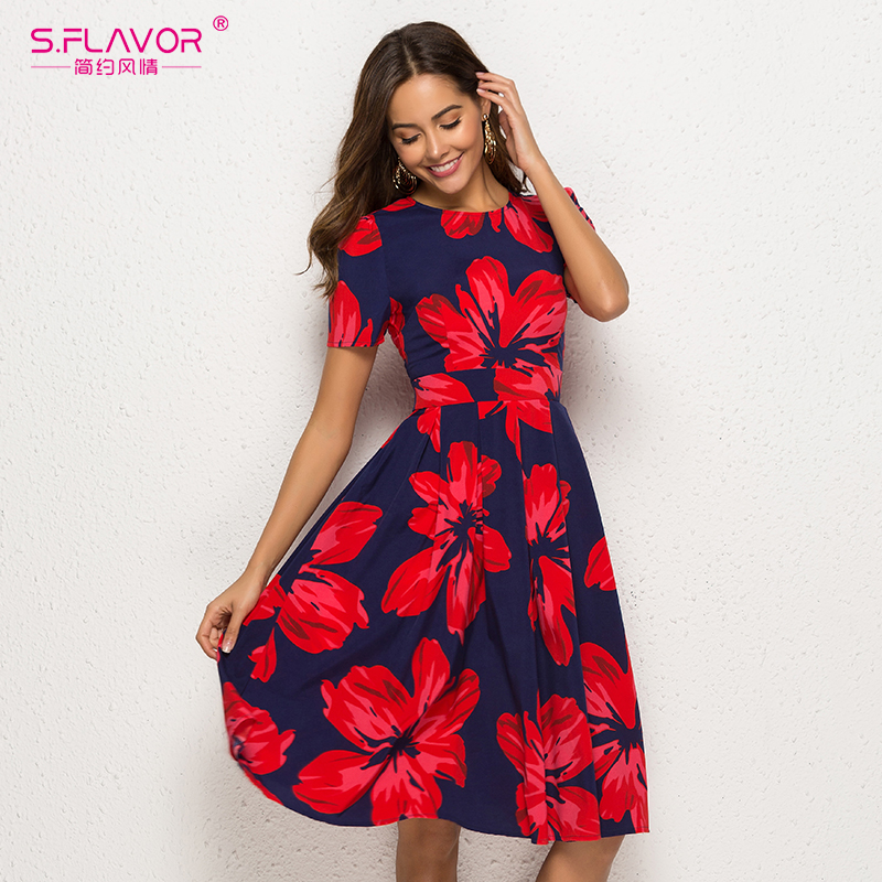 S.FLAVOR Women Floral Print Sexy A Line Dress 2019 Vintage Short Sleeve Casual Elegant Dress O Neck Party Retro Vestidos