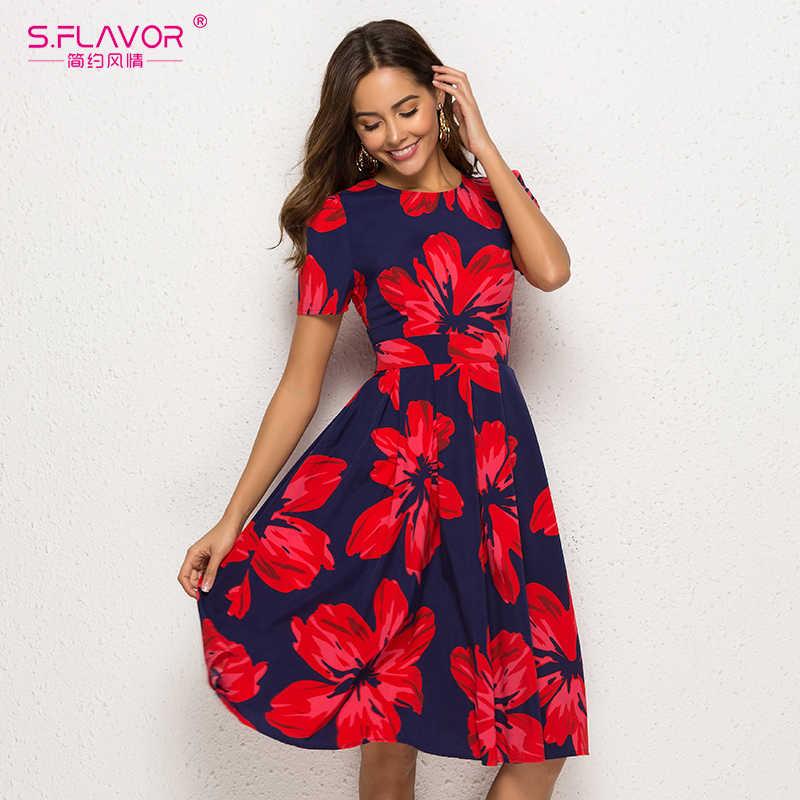 Женское трапециевидное платье S.FLAVOR, винтажное элегантное платье с коротким рукавом и цветочным принтом, праздничное повседневное платье в стиле ретро с О-образным вырезом, лето 2019