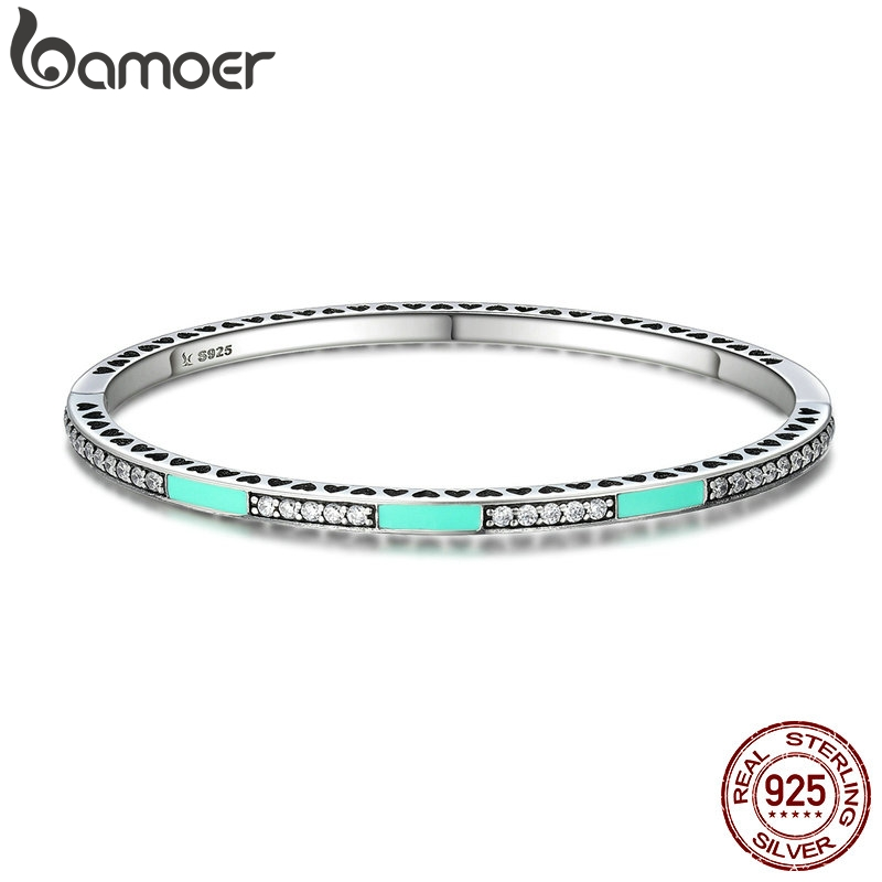 BAMOER Authentic 100% 925 Sterling Silver Radiant Hearts, Light Green Enamel & Clear CZ Bangle & Bracelet Luxury Jewelry SCB016BAMOER Authentic 100% 925 Sterling Silver Radiant Hearts, Light Green Enamel & Clear CZ Bangle & Bracelet Luxury Jewelry SCB016