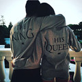 Amantes Das Mulheres dos homens de Moda Casual Hoodies Carta O Rei A Sua Rainha Impressão Casais Cinza Preto Camisola Pullovers Sudadera