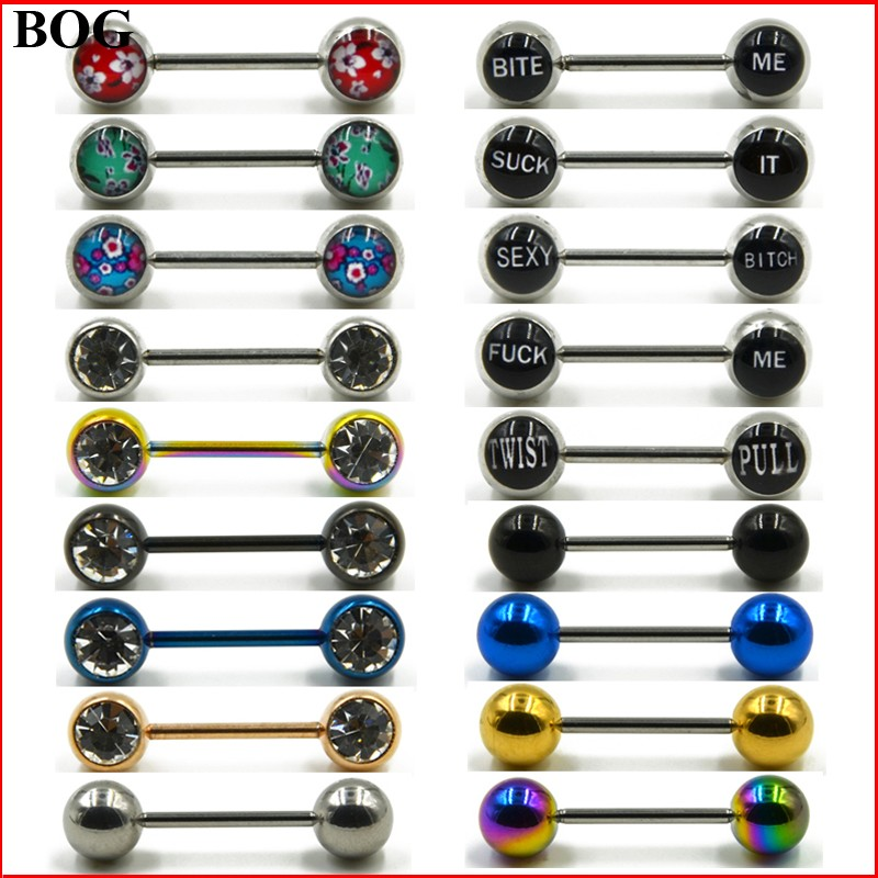 Body Jewelry Nipple-Shield Piercing Barbells Word Dirty CZ Surgical-Steel Sexy 1-Pair