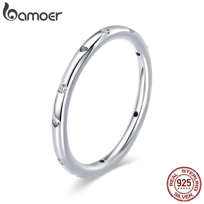 BAMOER 100% 925 Sterling Silver Clear CZ Crystal Round Engagement Finger Ring for Women Sterling Silver Jewelry S925 SCR374 цена 2017