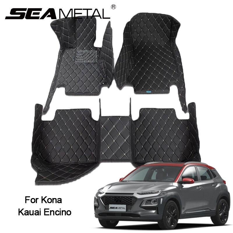LHD tapis de sol de voiture pour Hyundai Kona Kauai Encino 2018 2017 tapis personnalisé Auto intérieur tapis de pied Pad accessoires automobiles style