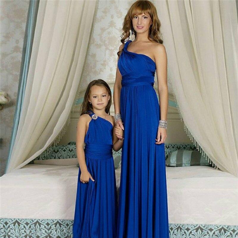 Robe bleue pour filles robes de première communion pour filles robes de demoiselle d'honneur pour les mariages robe mère et fille Matchin