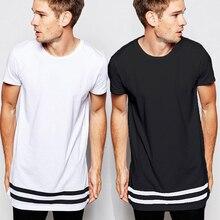 New Streetwear Fashion Men t shirt Extended Casual Solid t shirts Men Stripes tshirt Homme Long Line T shirt with Striped Hem striped curved hem tshirt
