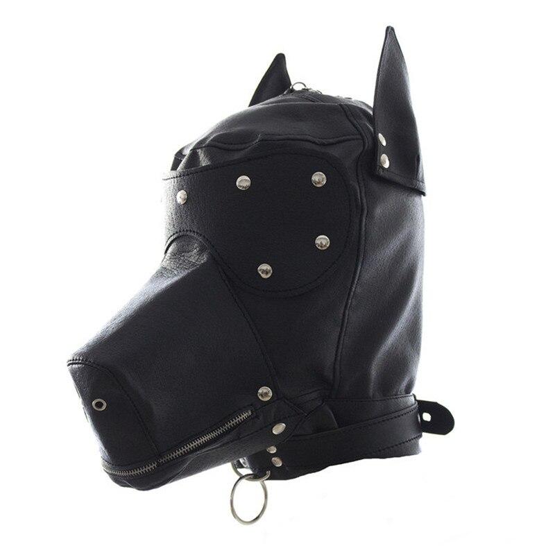 Jeux pour adultes BDSM chien esclave Bondage masque capuche gants coudières genouillères en métal Plug Anal queue fétiche Sex Toys pour femmes Couples
