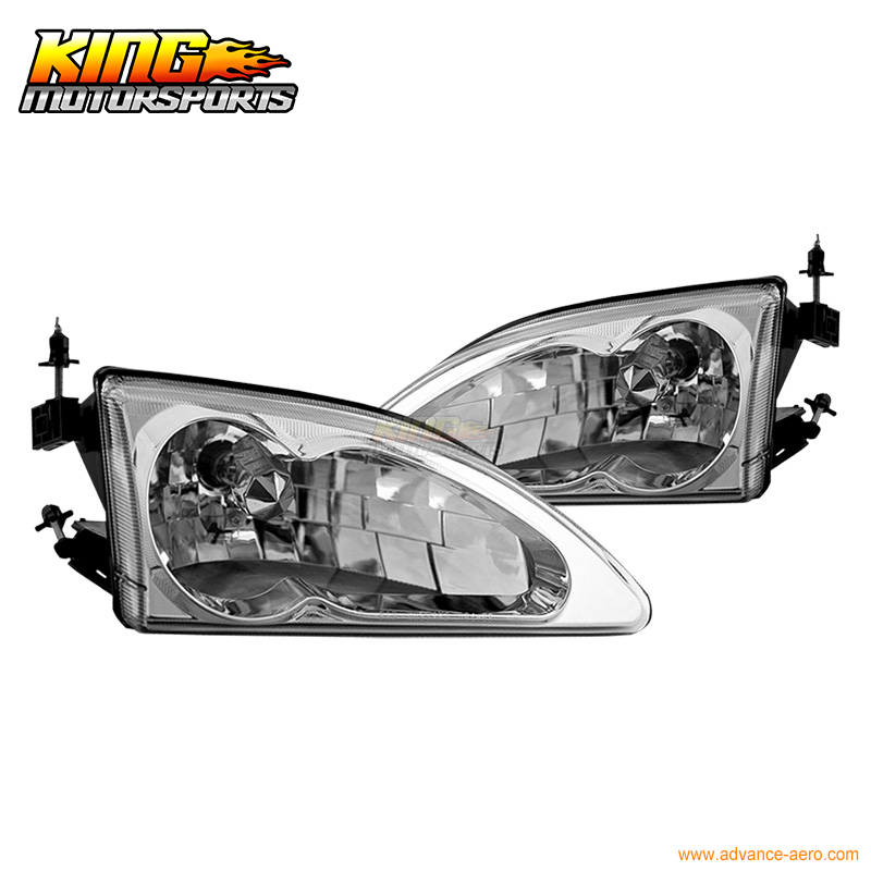 For 1994 95 96 97 1998 Ford Mustang Cobra OE Headlights Chrome Clear Lamps USA Domestic Free Shipping