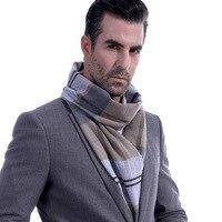 SHAMYMOON шарфы Для мужчин мода серые клетчатые осень-зима шарфы Для мужчин Шерсть Spinning классические кисточкой теплый шарф SC022