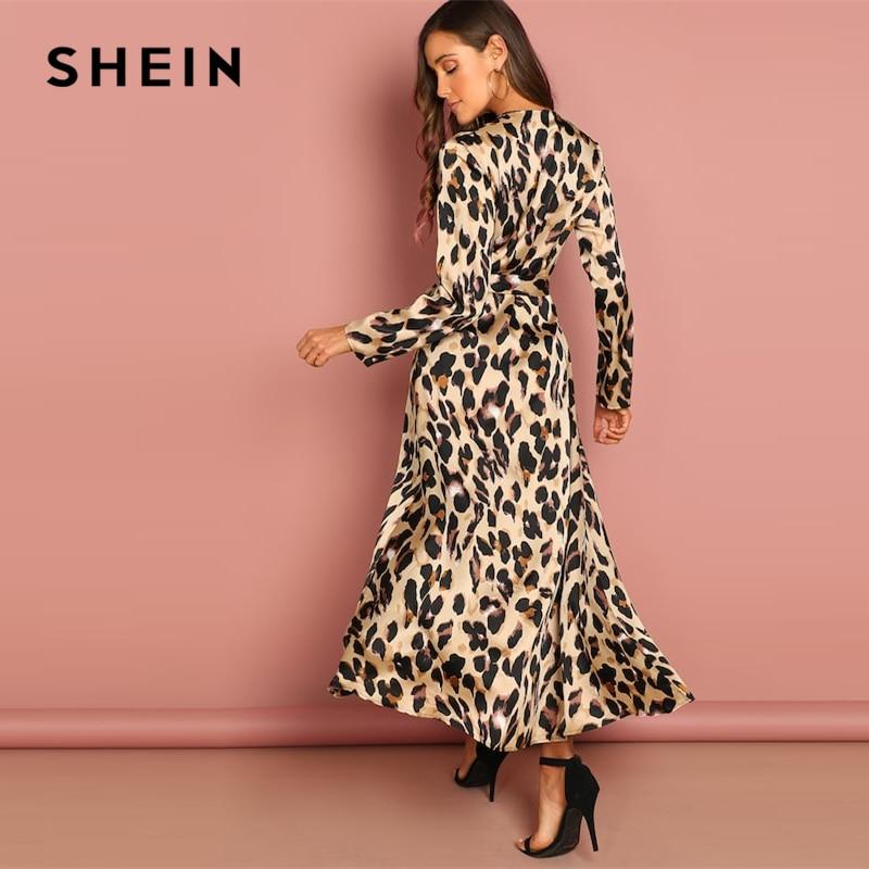 SHEIN Going Out Multicolor Surplice Wrap Satin Leopard Deep V Neck  Half Sleeve Dress Elegant Women Autumn Modern Lady Dresses 1