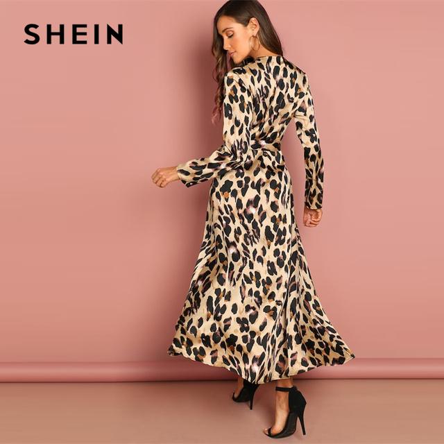 Leopard Deep V Neck  Half Sleeve Dress Elegant Women