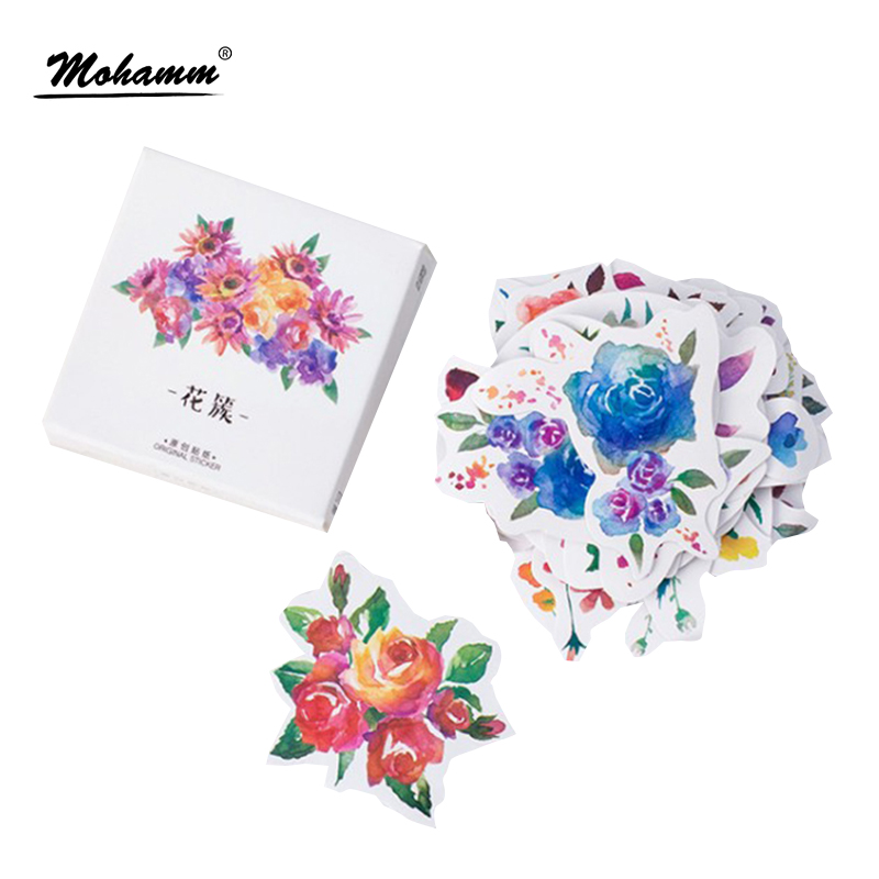 Creative Flowers Decorative Diy Diary Stickers Post it Kawaii Planner Scrapbooking Sticky Stationery Escolar School Supplies spring and fall leaves shape pvc environmental stickers decorative diy scrapbooking keyboard personal diary stationery stickers