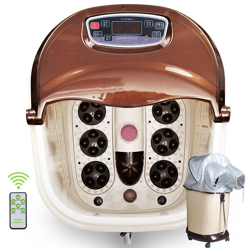 SUNWTR automatic roller surfing heat foot SPA massage basin mobile wheel shiatsu massage feet bath water temperture adjustable microscope accessories mobile 00 foot power dimming