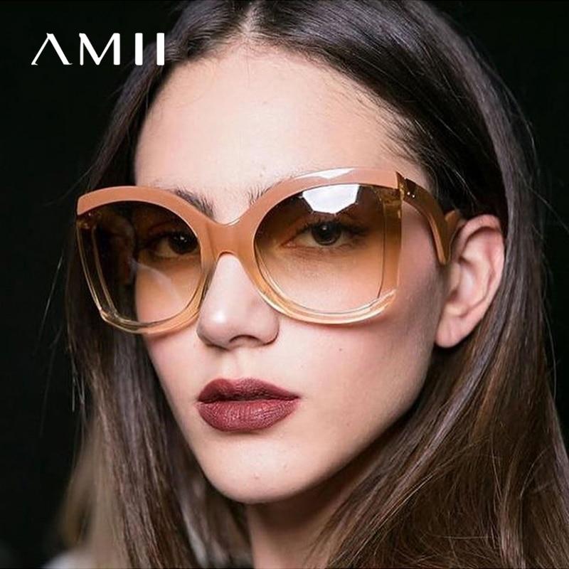 AMII New Black Clear Square Sunglasses Women Oversized Gradient Summer Style Classic Woman Sun Glasses Big Frame UV400 De So