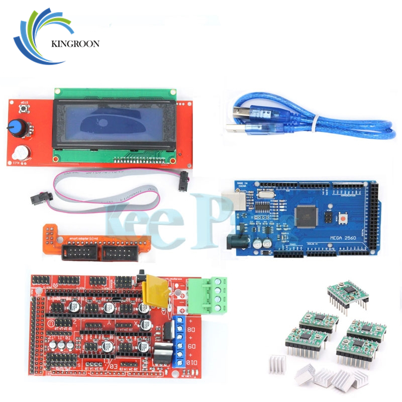 1pcs Mega 2560 R3 + 1pcs RAMPS 1.4 Controller + 5pcs A4988 Stepper Driver Module /RAMPS 1.4 2004 LCD Control For 3D Printer Kit ramps 1 4 control board mega 2560 r3 panel 2004 lcd display screen kit for 3d printer