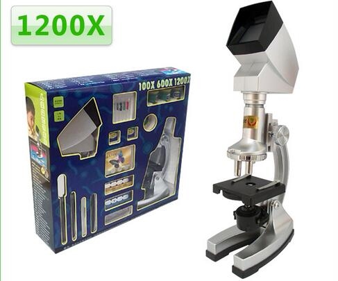 Zoom Illuminated 1200x Kids Educational Toy Biological Microscope with LED Light and Projector Birthday Gift for Children цены
