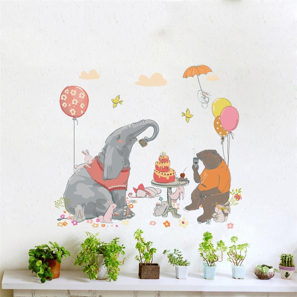 Dessin D Une Chambre D Enfant €3.86 47% de réduction|kakuder dessin animé éléphant animal chambre  d'enfants dortoir autocollant mural pour les chambres d'enfants tableau de