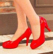 ปั๊มหนังสิทธิบัตรรองเท้าส้นสูง9เซนติเมตรแพลตฟอร์ม1.5เซนติเมตรผู้หญิงรองเท้าขนาดใหญ่ขนาดหลาขนาดเล็ก33 40ส้นเท้าบางที่มีส้นขนาดEUR 32-43