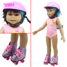 1Pair Sport Roller Skates Boots 1PCS Safety hat For 18 inch American Girl Doll For Any
