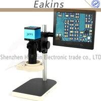 """Aletler'ten Mikroskoplar'de 1080 P 20MP HDMI USB Endüstriyel Video Mikroskop Kamera Seti 100X c montaj Lens + 8 """"lcd monitör + 56 LED halka ışık PCB Onarım için"""