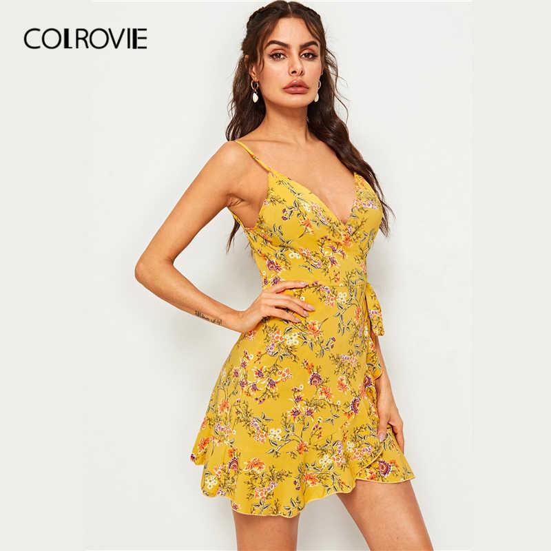 COLROVIE/желтое платье с v-образным вырезом и цветочным принтом, с завязками на боку, с поясом, на бретельках, Boho, женское платье 2019 года, летние пляжные мини-платья без рукавов для отдыха