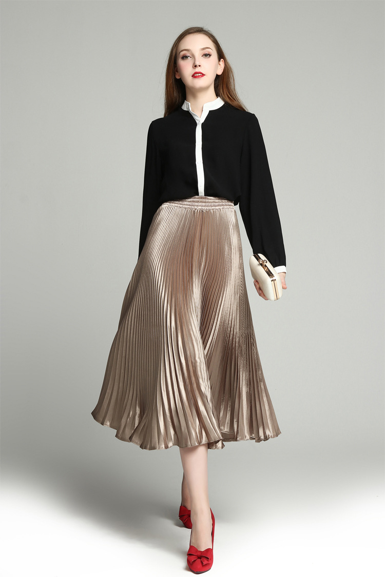Summer New Women's Pure Color Ruffles Half Skirt Fashion Champagne Wild Fluorescent Pleated Skirt