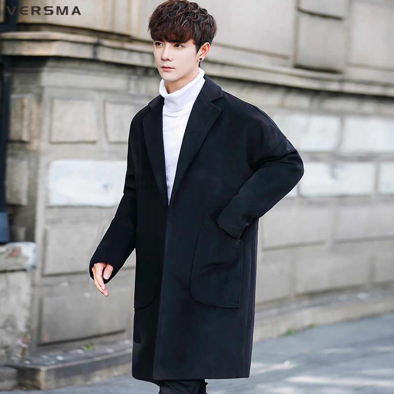 VERSMA Korean Casual Fashion Loose BF Green Wool Long Pea Coat Men Winter  Vintage Style Clothing Men Long Jackets Coats Overcoat