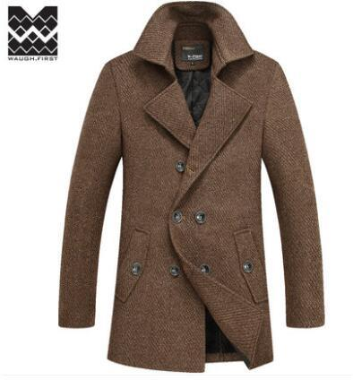 S-XXXXL Plus Size Winter Coat Men 2016 Fashion Male Classic Double Breasted Wool Jacket Mens Thicken Woolen Overcoat A3988