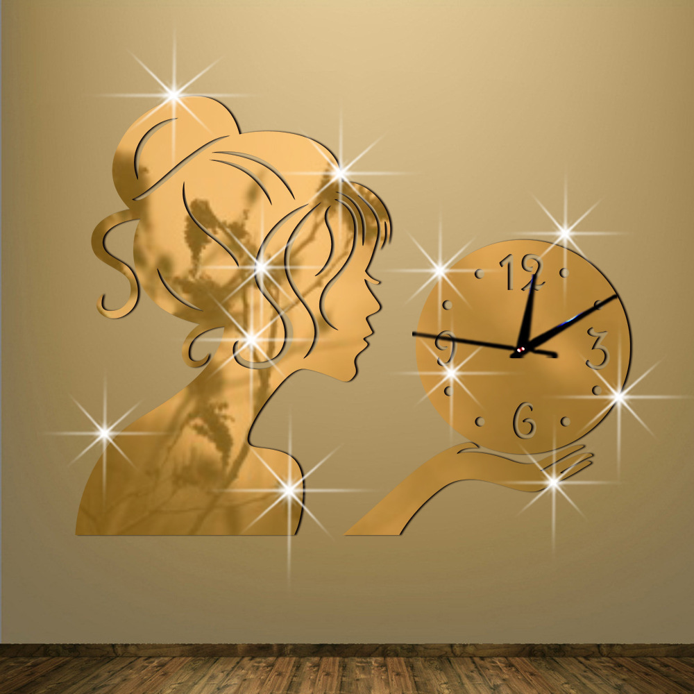 Cheap Wall Clock The Clock On The Wall Originality Fashion Technology Mirror Girl Mirror Stickers Clocksandwatches Wall Stickers
